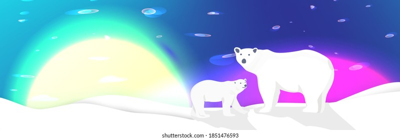 Winter arctic landscape whith polar bears . Glowing sun and northen lights in the sky. Fairy tale vector illustration