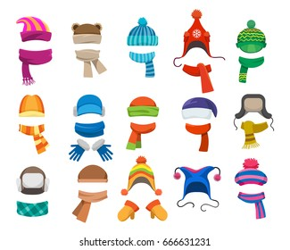 d511f2be991 Winter or autumn headwear collection. Vector knitting hats