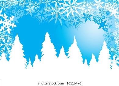 Winter background in blue and white with snow flakes, pine trees and wind
