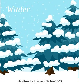 Winter background design with abstract stylized trees.