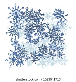Winter Background with Doodle Snowflakes. Blue Christmas Decoration. Cute Vector Pattern for Card, Poster, Banner. Frosty Cartoon Background in Trendy Style. Simple Hand Drawn Snowflakes