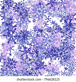 winter background with doodle snowflakes blue christmas decoration cute vector pattern for card - Frosty Blue Christmas Decorations