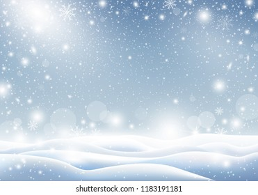 Winter background of falling snow Christmas card design vector illustration