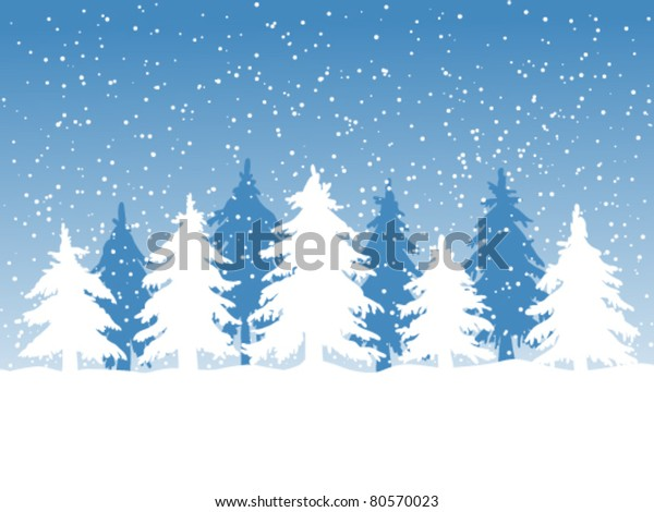 Winter background with fir trees and falling snow
