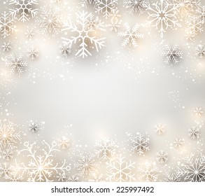 Winter background. Glowing snowflakes. Christmas. Vector frame.