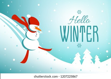 Winter background with happy snowman skiing down mountain slope and hello winter text message. Vector illustration