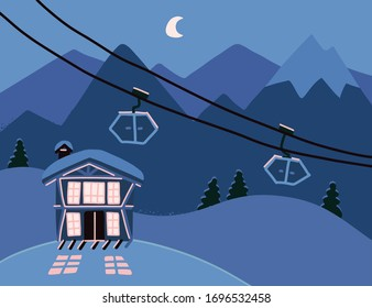 Winter background with a hotel in snowy mountains at night. Wooden living apartment, chalet in resort for skiing, snowboarding. Colorful backdrop with cozy, modern cottage. Flat vector illustration