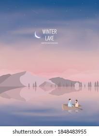 Winter Background Illustrator : winter lake