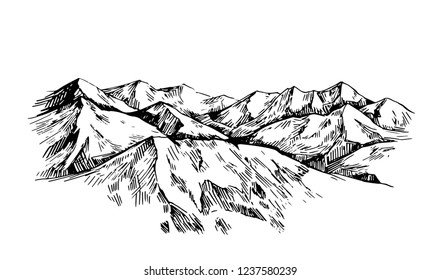Winter background with mountains, snow and trees. Hand drawn illustration converted to vector.
