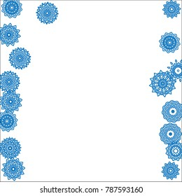 Winter Background for New Year and Christmas Decoration in Orient Style. Small Ethnic Mandalas Looking Like Snowflakes. Lacy Outline Pattern. Moroccan, Indian or Turkish Motif