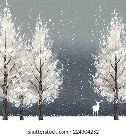 Winter background at night with white trees and reindeer. File contains clipping mask, Gradient mesh.