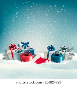 Winter background with presents. Vector.