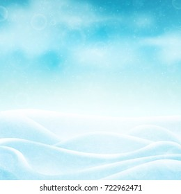 Winter background with realistic snow, clouds and sky. Vector illustration.