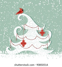 Winter background with red cardinal and Christmas tree
