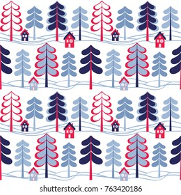 Winter background. Seamless vector pattern with trees and houses.