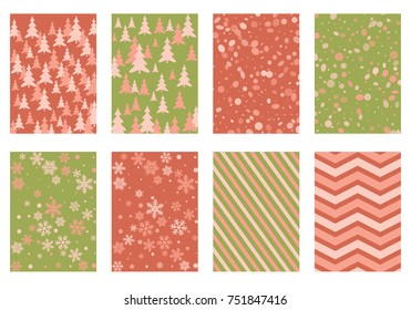 Winter background snow pattern, halftone texture, christmas tree silhouette, confetti explosion. Winter Christmas backgrounds, snow flakes isolated, halftone, circle confetti textures, fir trees cards