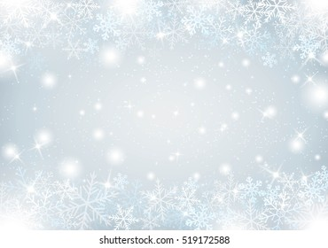 Winter background with snow and snowflakes