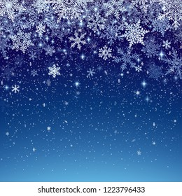 Winter background with snowfall, decoration for christmas and new year, and winter holiday season, abstract snowflakes crystals. EPS 10 contains transparency.