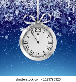 Winter background with snowfall and silver clock, decoration for christmas and new year, and winter holiday season, beautiful invitation card. EPS 10 contains transparency.