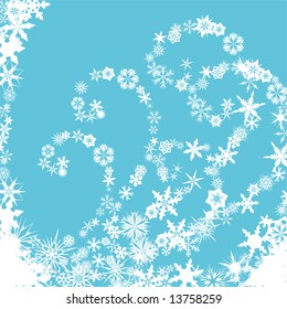 Winter background with snowflakes forming spiral patterns on blue background
