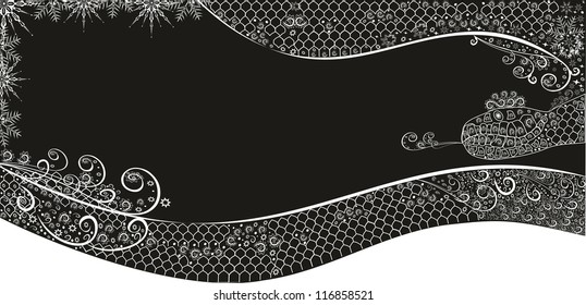 Winter background with snowflakes and  snake.Editable and scalable vector