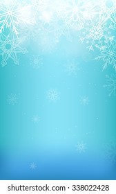 Winter background with snowflakes, sparkles and blurred background for your creativity