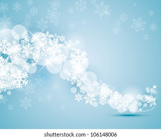 winter background with snowflakes swirling