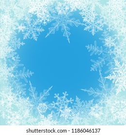 Winter background, snowflakes - vector illustration
