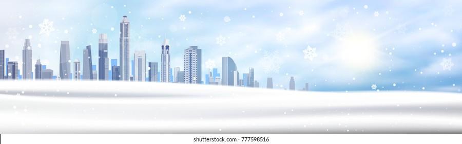 Winter Background Snowy City Landscape Horizontal Banner Snow White Buildings Blue Sky Christmas Concept Flat Vector Illustration