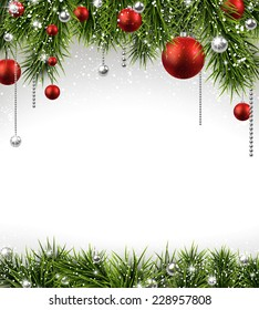Winter background with spruce twigs and red baubles. Christmas vector frame. Eps10.