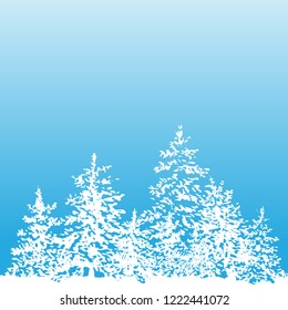 Winter background vector Ink Fir and snow