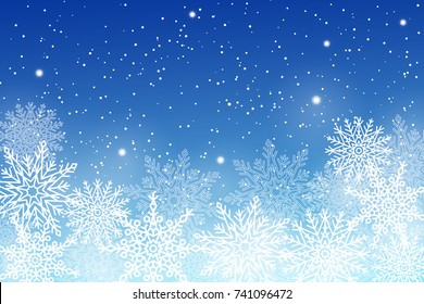 Winter background with white snowflakes on blue backdrop. Vector illustration of snowballs of different shape, frozen snow with place for text