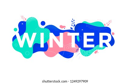 Winter banner design with abstract geometric shapes. Christmas offer poster with liquid form. Vector illustration