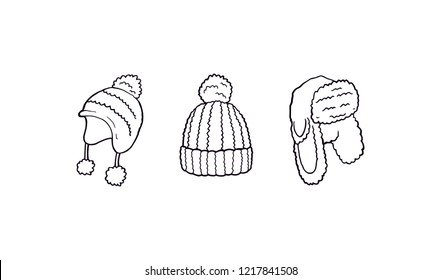 Winter beanie hats different shapes set illustration with black outline, simple silhouette vector. Winter warm unisex clothes for mens and ladies. Different women and mens hats for cold winter.