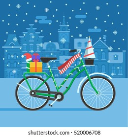 Winter bike with New Year tree, red scarf and gift boxes. Festive background with decorated bicycle on snowy Europe city landscape. Christmas bike card template. Winter bicycle vector illustration.