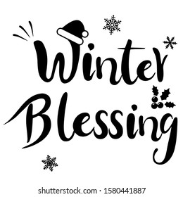 winter blessing Merry Christmas and Happy New Year,new year Vector emblem,Christmas English phrase and Christmas hat,Christmas gifts,holly and snowflake