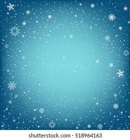 Winter blue background with snow. Christmas and New Year backdrop