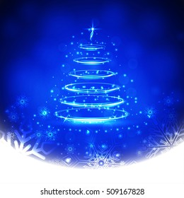 Winter blue background with snowflakes and Christmas tree. Template for Christmas greeting card. Vector Illustration.