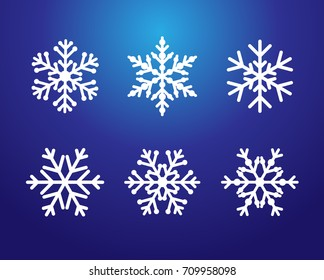 Winter blue christmas frost vector icon snowflakes isolated silhouette symbol. Snowflake line set white color