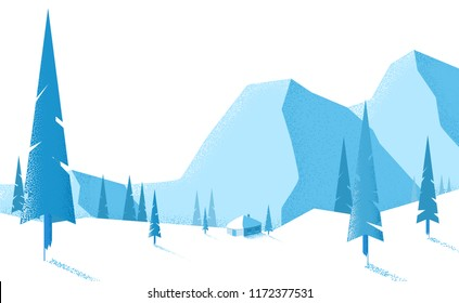 Winter blue landscape with mountains and fir trees. Vector background.