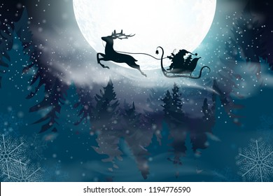 Winter blue sky with falling snow, snowflakes with a winter landscape with a full moon. Santa Claus flying on a sleigh with a deer. Vector illustration background in cartoon style.