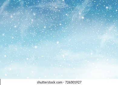 Winter sky with falling snow. Falling snow, snowflake on a blue sky. Holiday Winter background for Merry Christmas and Happy New Year. Falling snow background. Snowfall background. Vector illustration