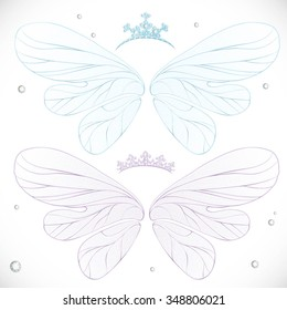 Winter blue and violet fairy wings with tiara bundled isolated on a white background