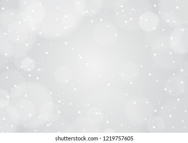 Winter bokeh light and falling snow gray background design. Abstrat festive background card, vector.