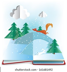 Winter Book. 3d paper pop up book with winter scene. EPS10, transparency.
