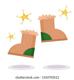 Winter boots with stars for clothes design. Isolated cartoon vector set. Colorful warm shoes in trendy style. Winter outfit. Fashion illustration.