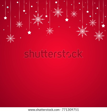 winter border with flat white snowflakes stars and dots on red background new year