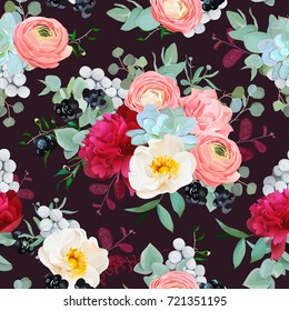 Winter bouquets of peony, ranunculus, succulents, rose, carnation, brunia, blackberries and eucalyptus leaves on the black background. Vector seamless pattern with flowers.