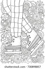 Winter boy on skates.  Winter snowflakes. Adult Coloring book page. Hand-drawn vector illustration. Vertical pattern for coloring book with legs. Zentangle. Black and white. A4 size.