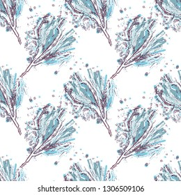 Winter Branches Seamless Pattern. Hand Drawn Background. Vector Illustration.